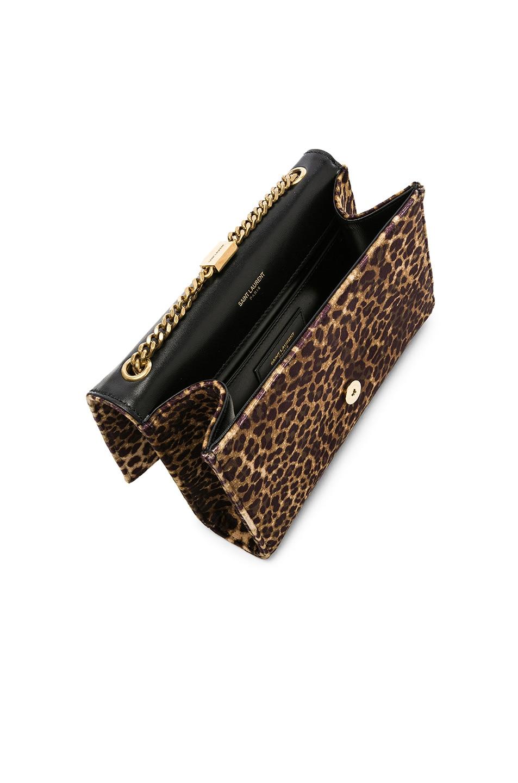 Image 5 of Saint Laurent Small Leopard Print Velvet Monogramme Kate Chain Bag in Natural
