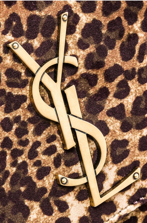 Image 8 of Saint Laurent Small Leopard Print Velvet Monogramme Kate Chain Bag in Natural