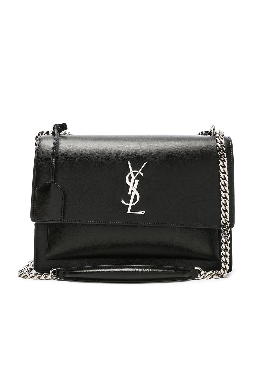 Image 1 of Saint Laurent Large Monogramme Sunset Chain Bag in Black