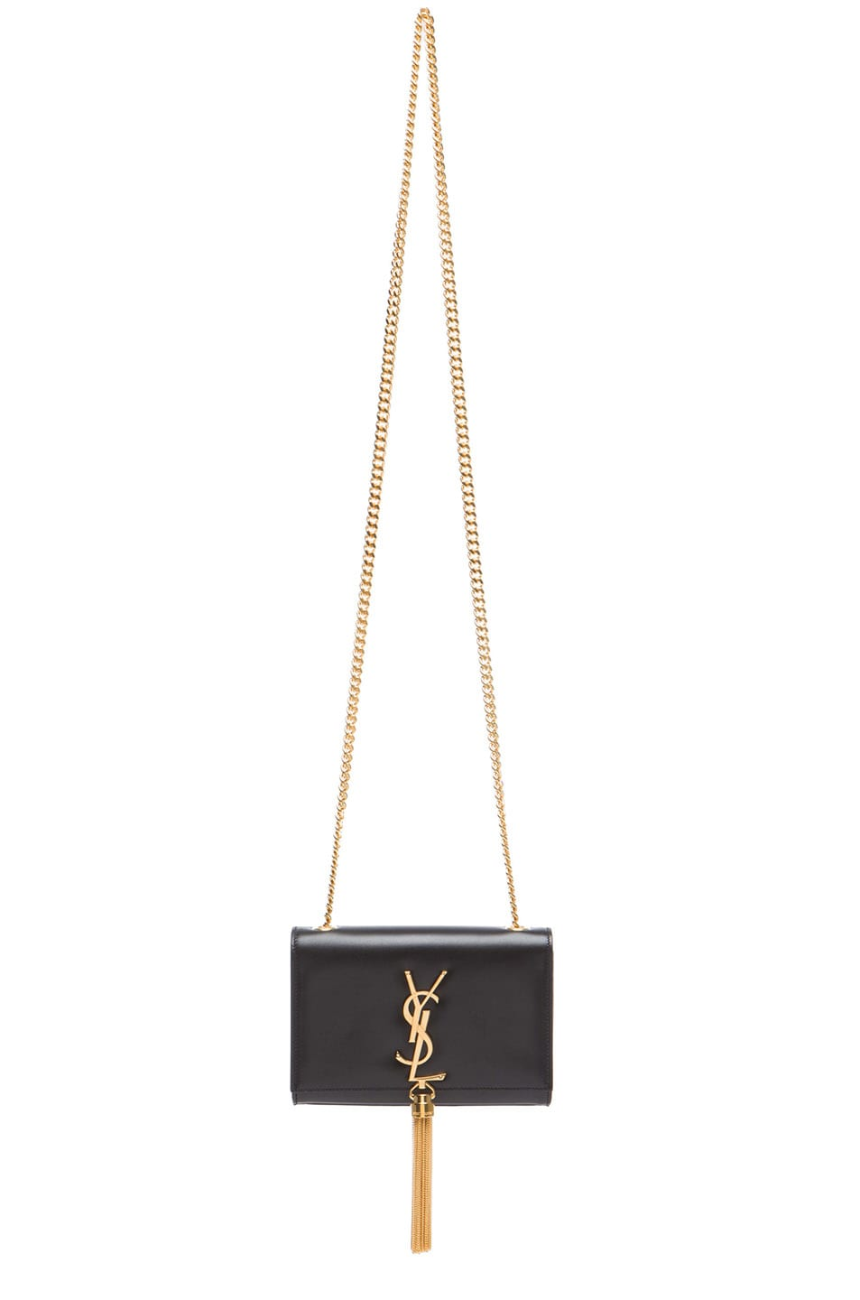 Image 1 of Saint Laurent Small Monogramme Tassel Chain Bag in Black