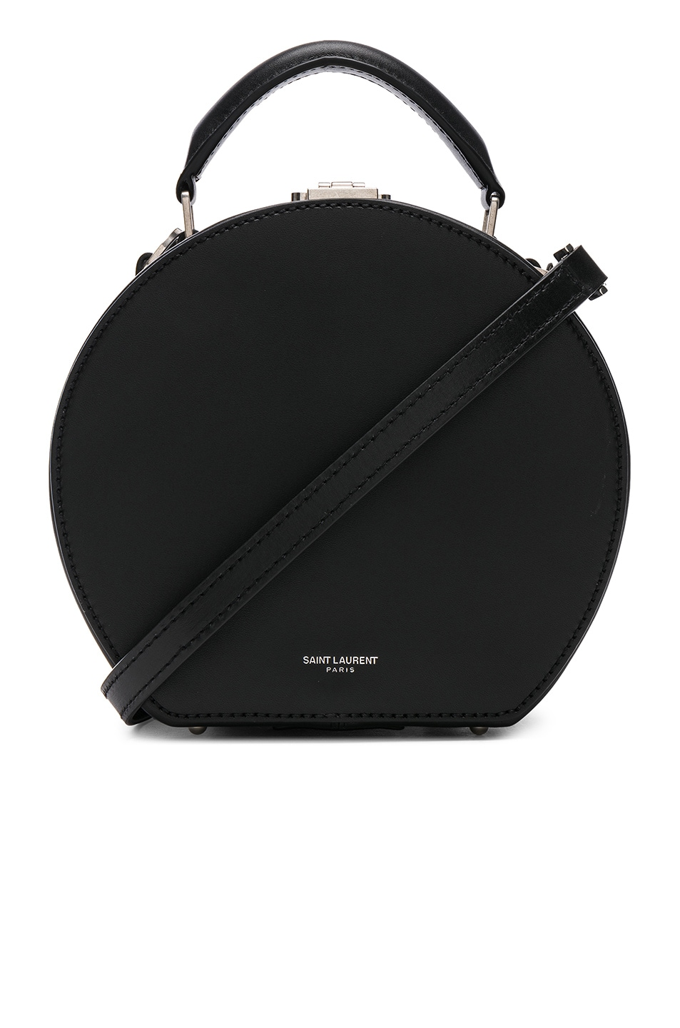 Image 1 of Saint Laurent Small Leopard Print Lining Leather Mica Hat Case in Black