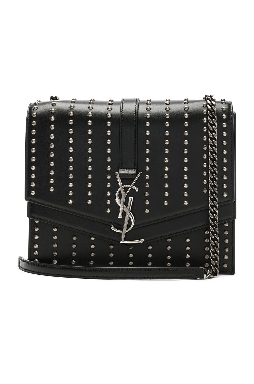 Image 1 of Saint Laurent Medium Studded Monogramme Sulpice Chain Bag in Black