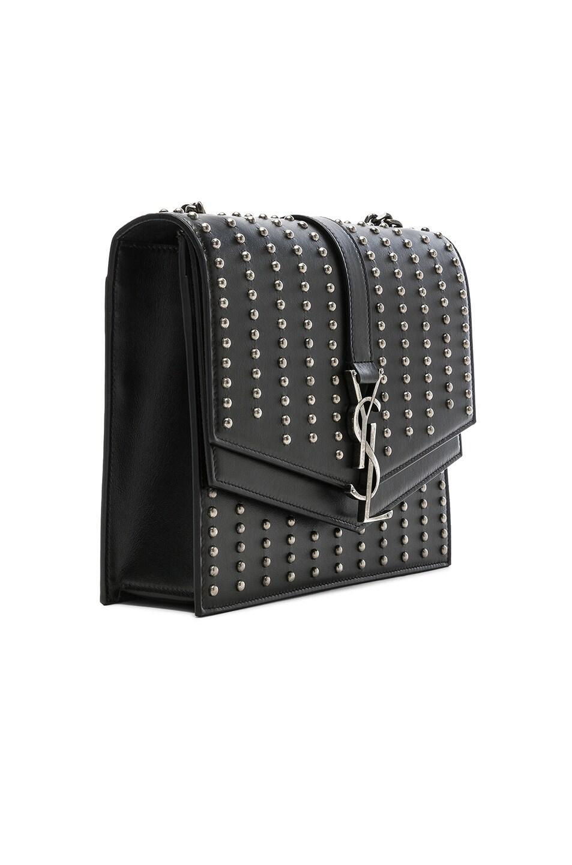 Image 4 of Saint Laurent Medium Studded Monogramme Sulpice Chain Bag in Black