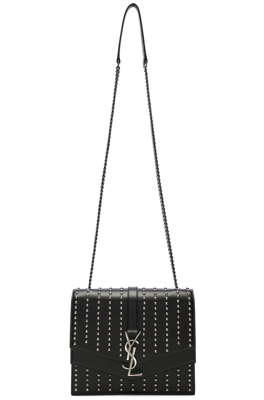 Image 6 of Saint Laurent Medium Studded Monogramme Sulpice Chain Bag in Black