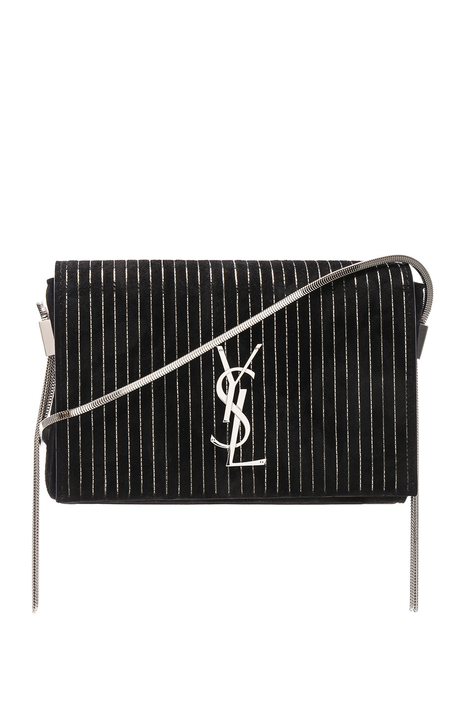 Image 1 of Saint Laurent Small Chain Studded Suede Kate Chain Bag in Black & Ruthenium