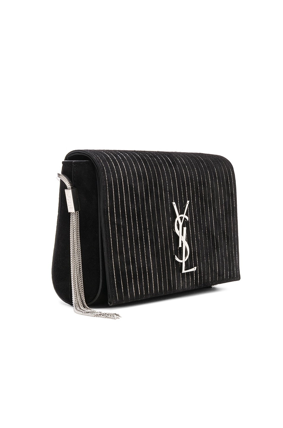 Image 4 of Saint Laurent Small Chain Studded Suede Kate Chain Bag in Black & Ruthenium