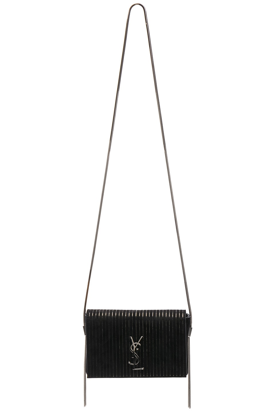 Image 6 of Saint Laurent Small Chain Studded Suede Kate Chain Bag in Black & Ruthenium