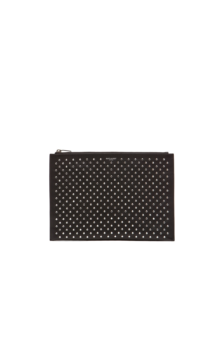 Image 1 of Saint Laurent Paris Studded Zip Clutch in Black