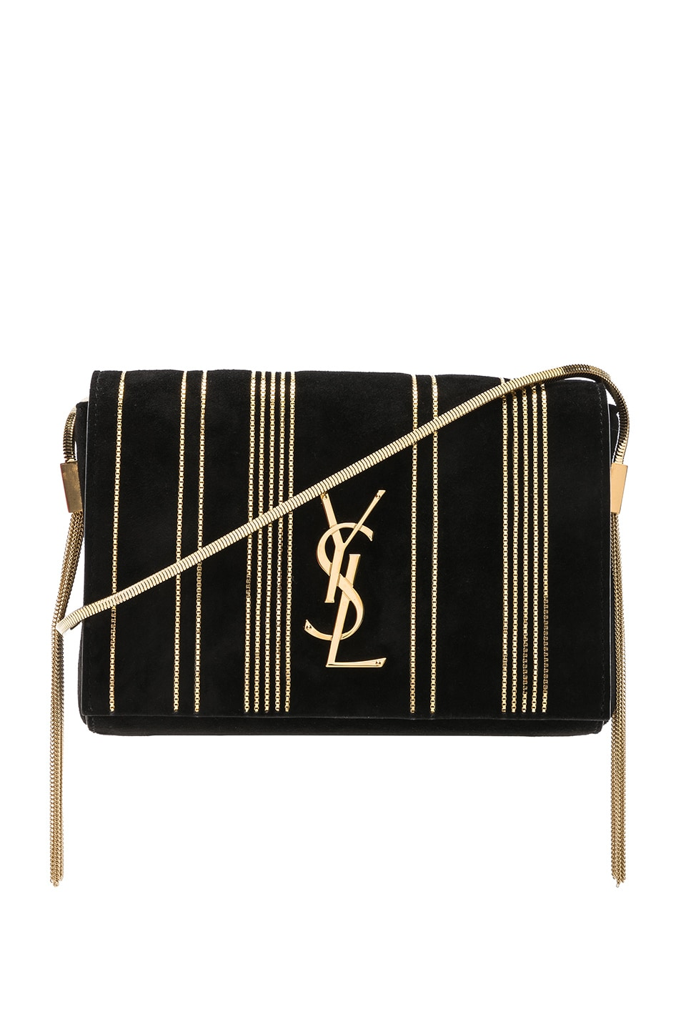 Image 1 of Saint Laurent Small Chain Studded Suede Kate Chain Bag in Black & Gold