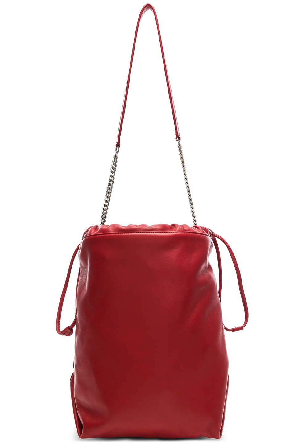 Image 3 of Saint Laurent Supple Logo Teddy Pouch in Eros Red