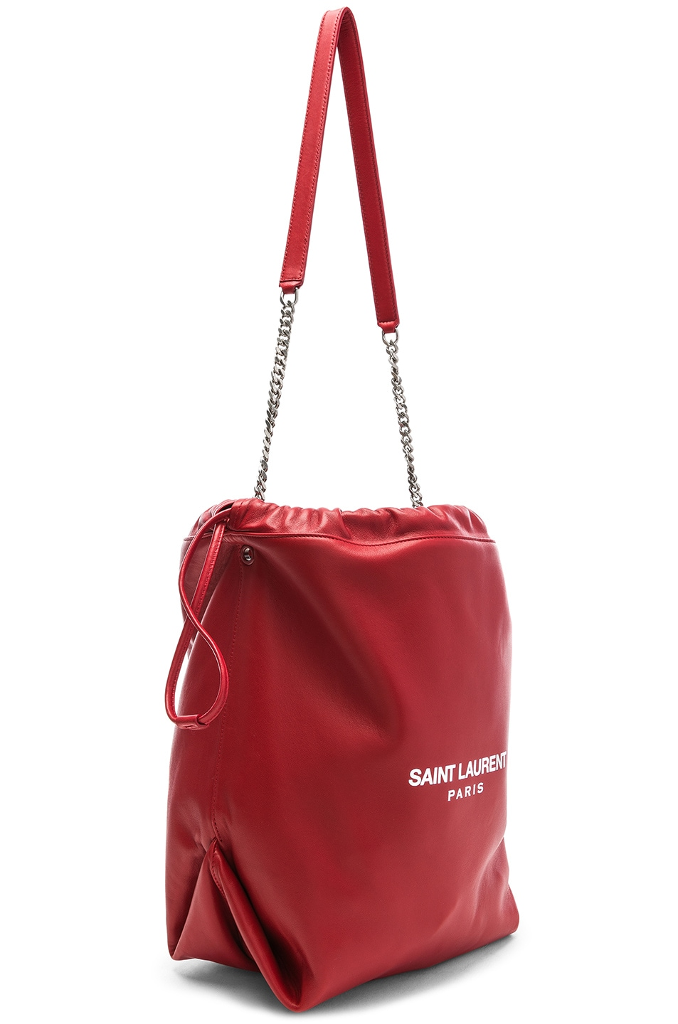 Image 4 of Saint Laurent Supple Logo Teddy Pouch in Eros Red