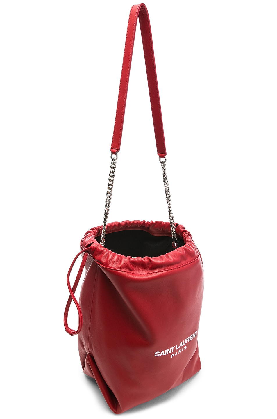 Image 5 of Saint Laurent Supple Logo Teddy Pouch in Eros Red