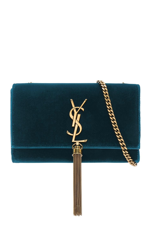 Image 1 of Saint Laurent Small Velvet Monogramme Kate Tassel Chain Bag in Dark Deep Sea
