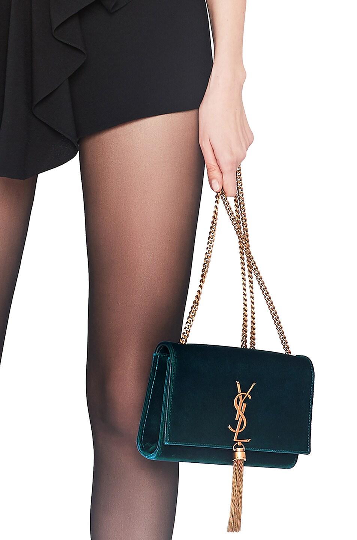 Image 2 of Saint Laurent Small Velvet Monogramme Kate Tassel Chain Bag in Dark Deep Sea