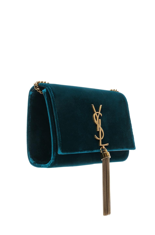 Image 4 of Saint Laurent Small Velvet Monogramme Kate Tassel Chain Bag in Dark Deep Sea