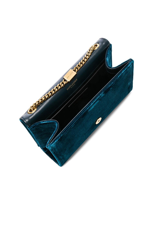 Image 5 of Saint Laurent Small Velvet Monogramme Kate Tassel Chain Bag in Dark Deep Sea
