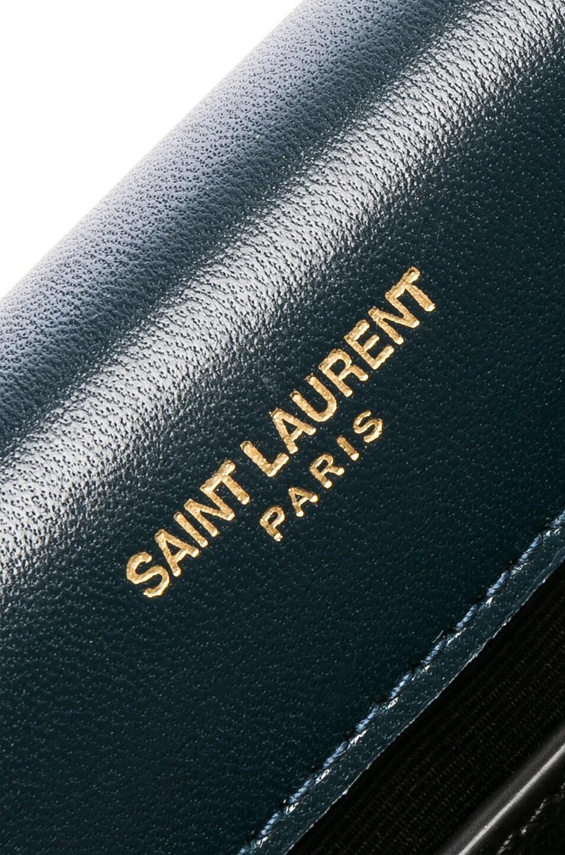Image 7 of Saint Laurent Small Velvet Monogramme Kate Tassel Chain Bag in Dark Deep Sea