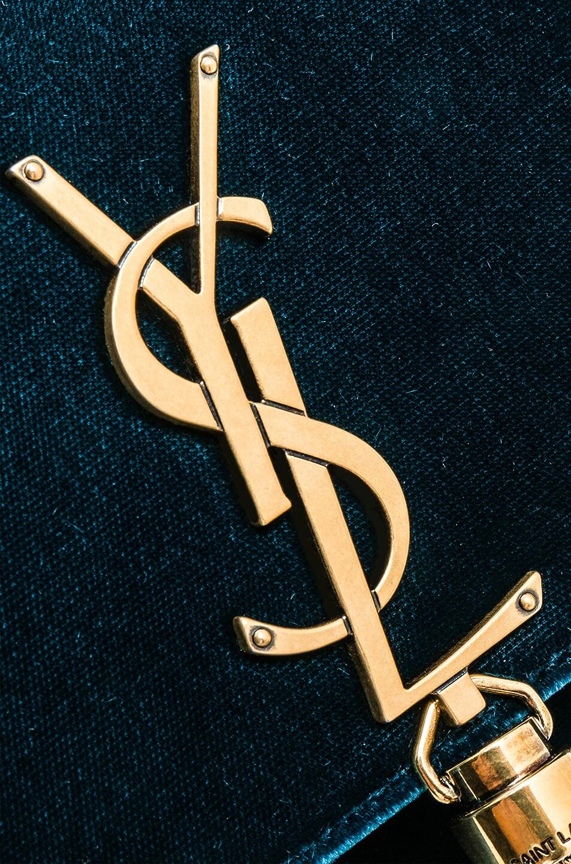 Image 8 of Saint Laurent Small Velvet Monogramme Kate Tassel Chain Bag in Dark Deep Sea