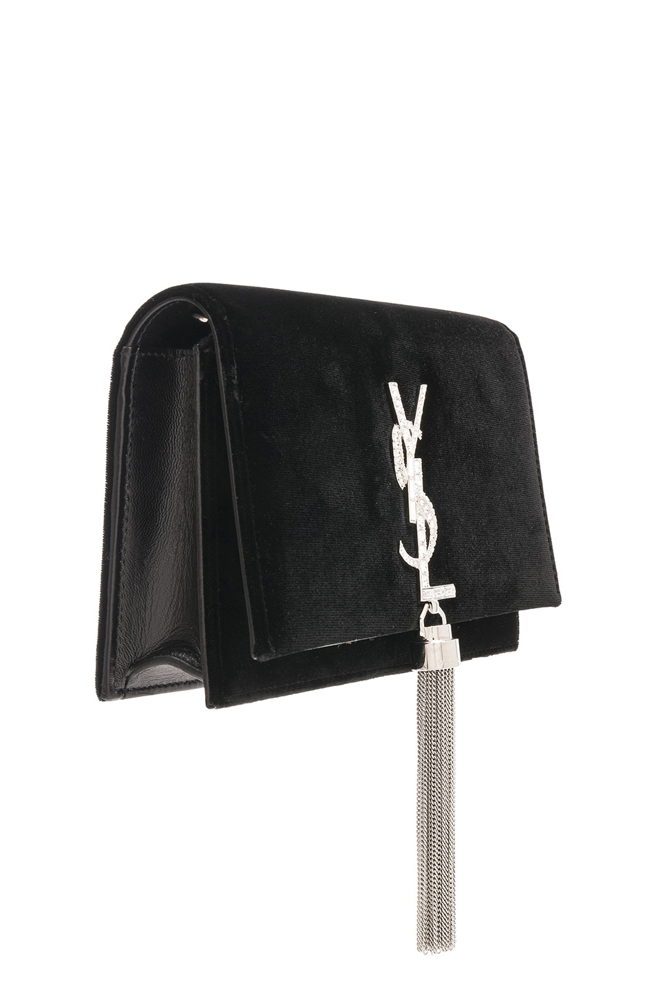 Image 4 of Saint Laurent Crystal Logo Velvet Kate Tassel Chain Wallet in Black & Crystal