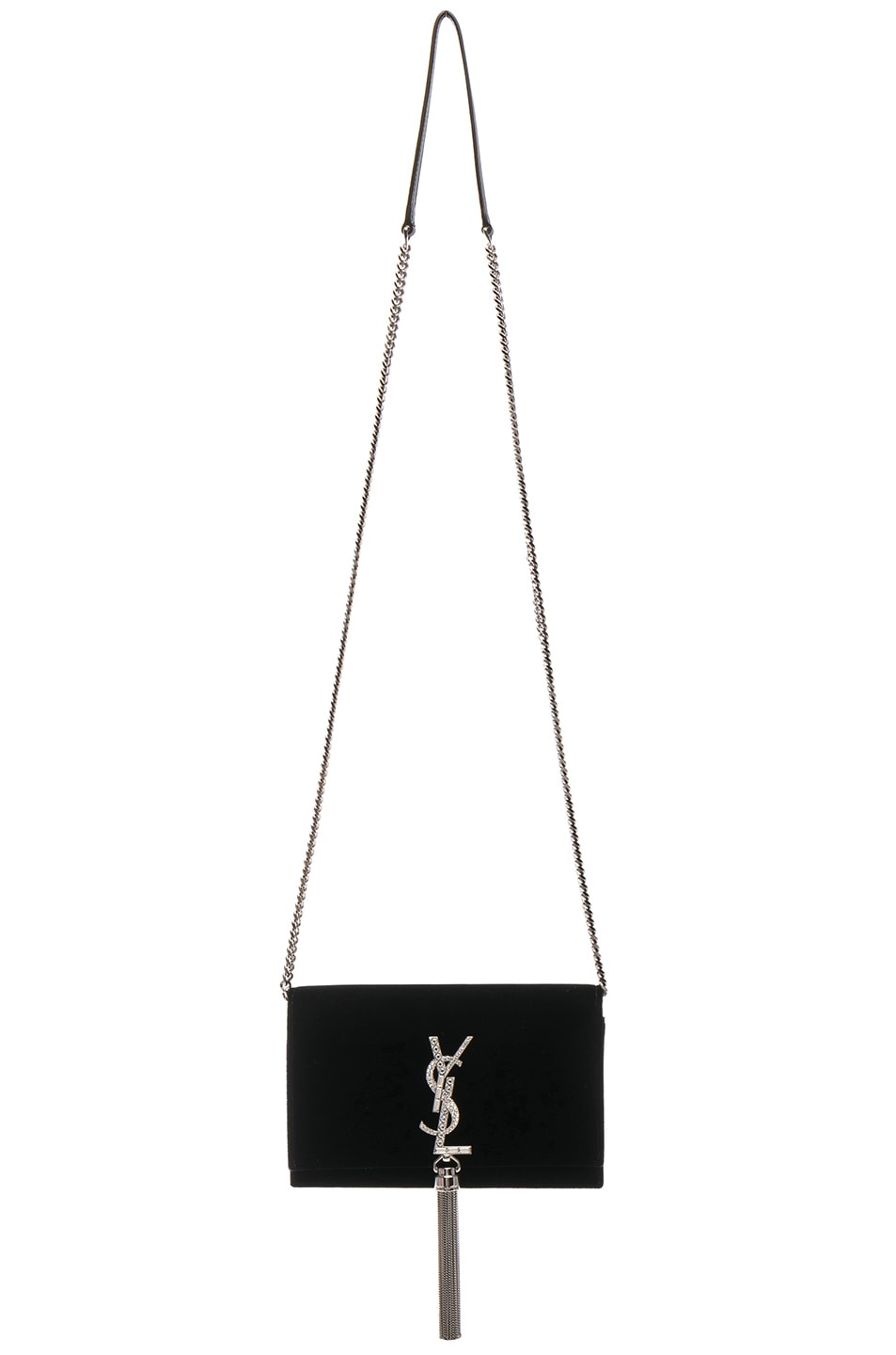 Image 6 of Saint Laurent Crystal Logo Velvet Kate Tassel Chain Wallet in Black & Crystal