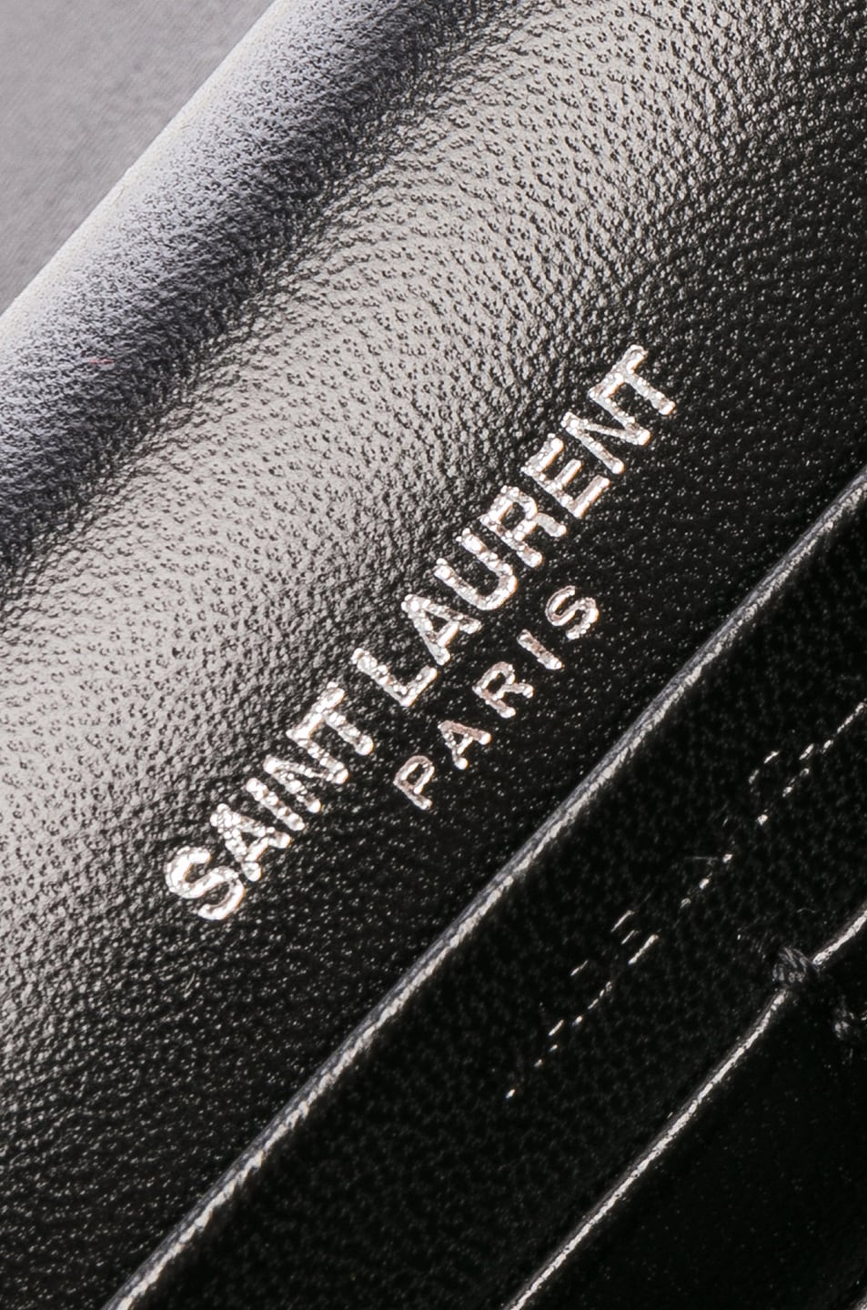 Image 7 of Saint Laurent Crystal Logo Velvet Kate Tassel Chain Wallet in Black & Crystal