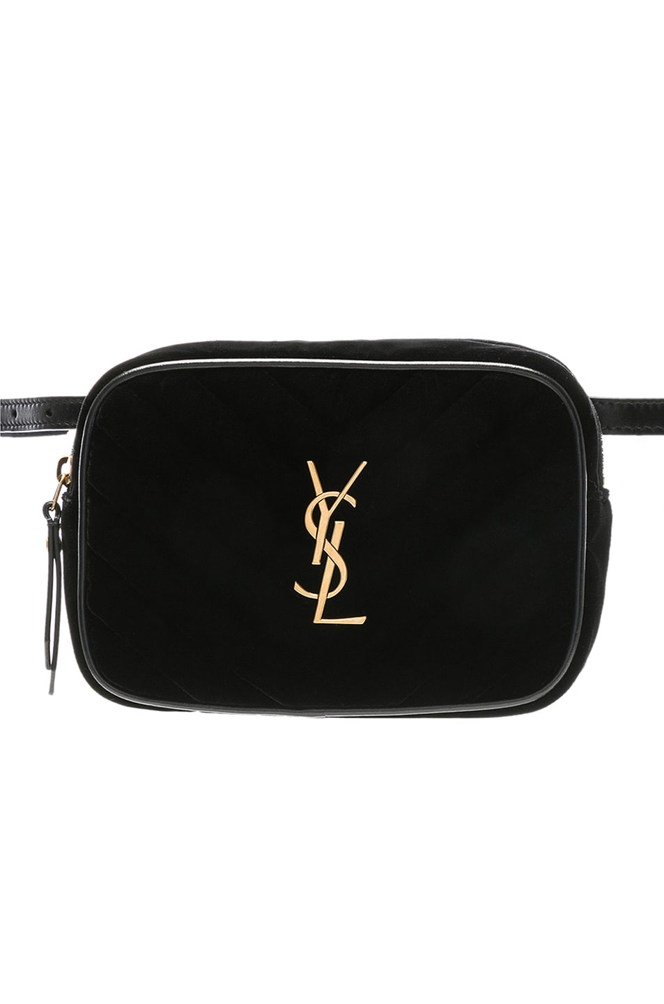 Image 1 of Saint Laurent Velvet Monogramme Lou Hip Belt with Pouch in Black