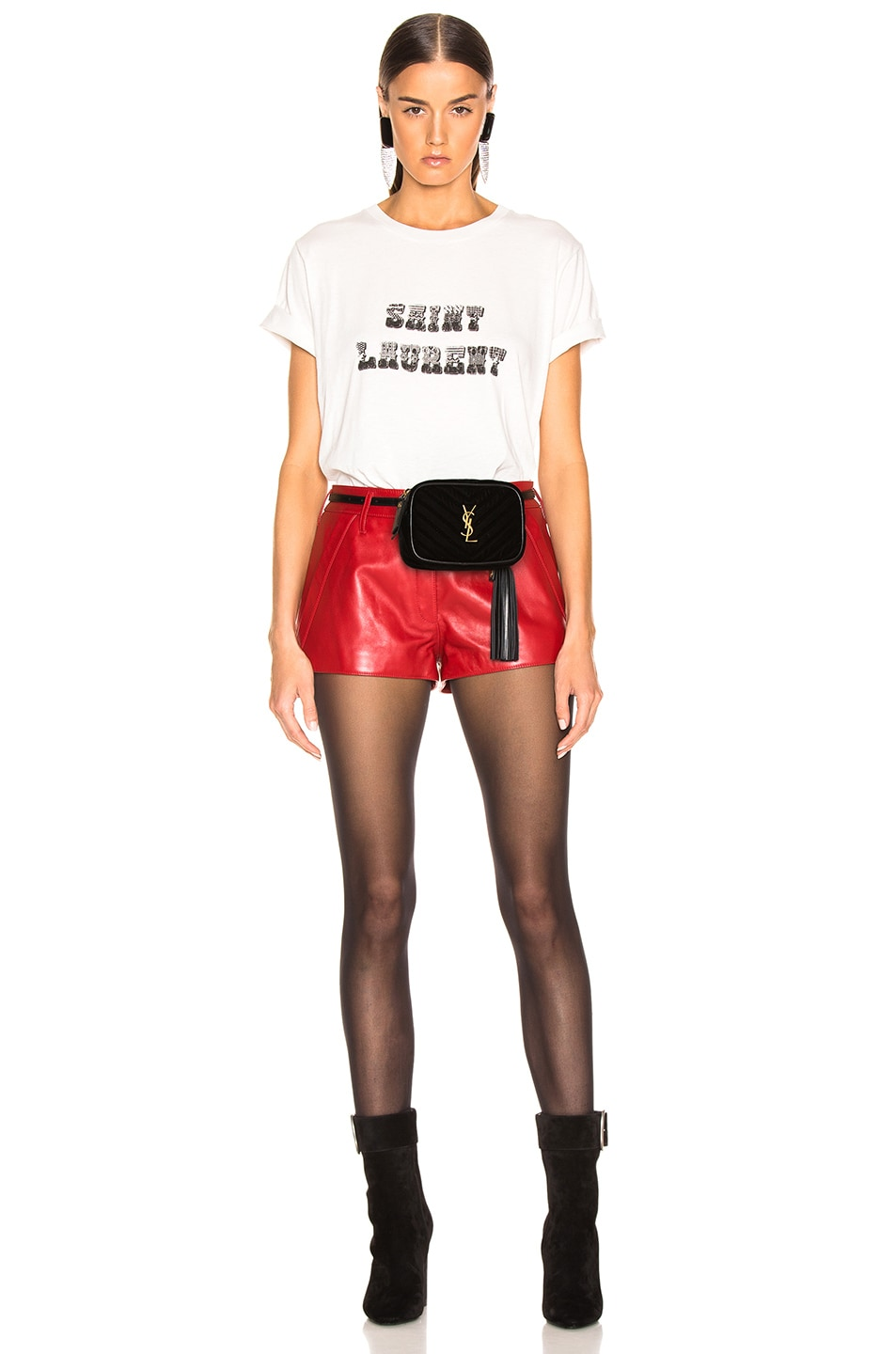 Image 2 of Saint Laurent Velvet Monogramme Lou Hip Belt with Pouch in Black