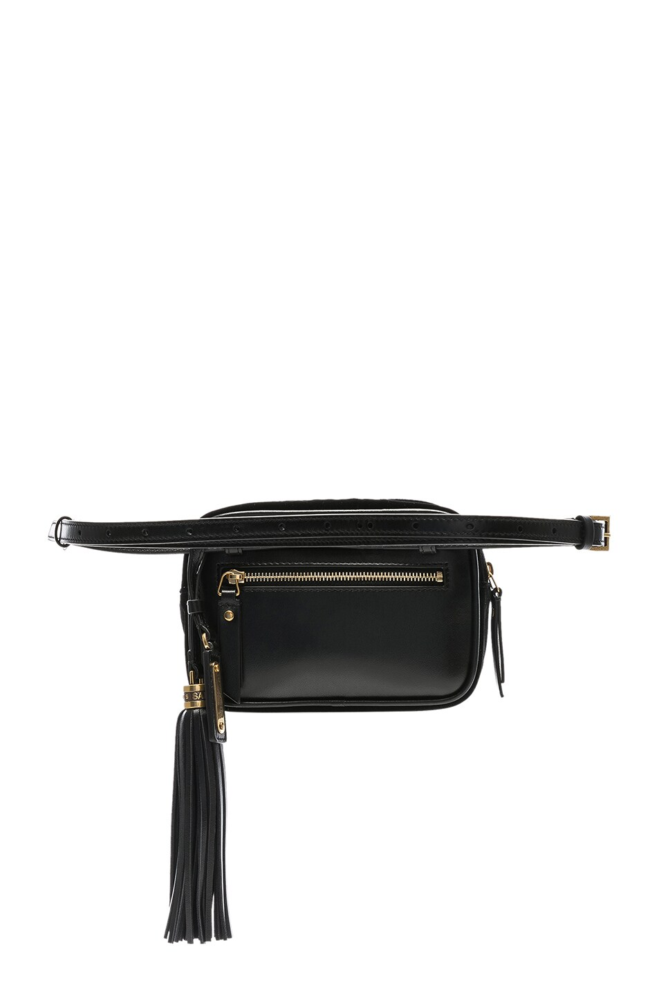 Image 3 of Saint Laurent Velvet Monogramme Lou Hip Belt with Pouch in Black