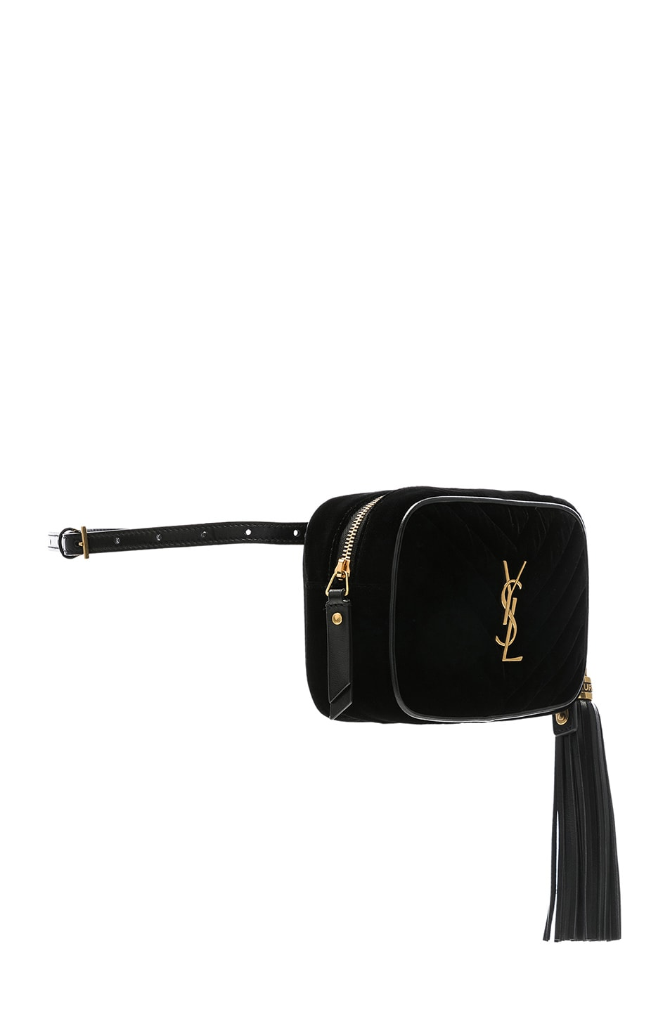 Image 4 of Saint Laurent Velvet Monogramme Lou Hip Belt with Pouch in Black
