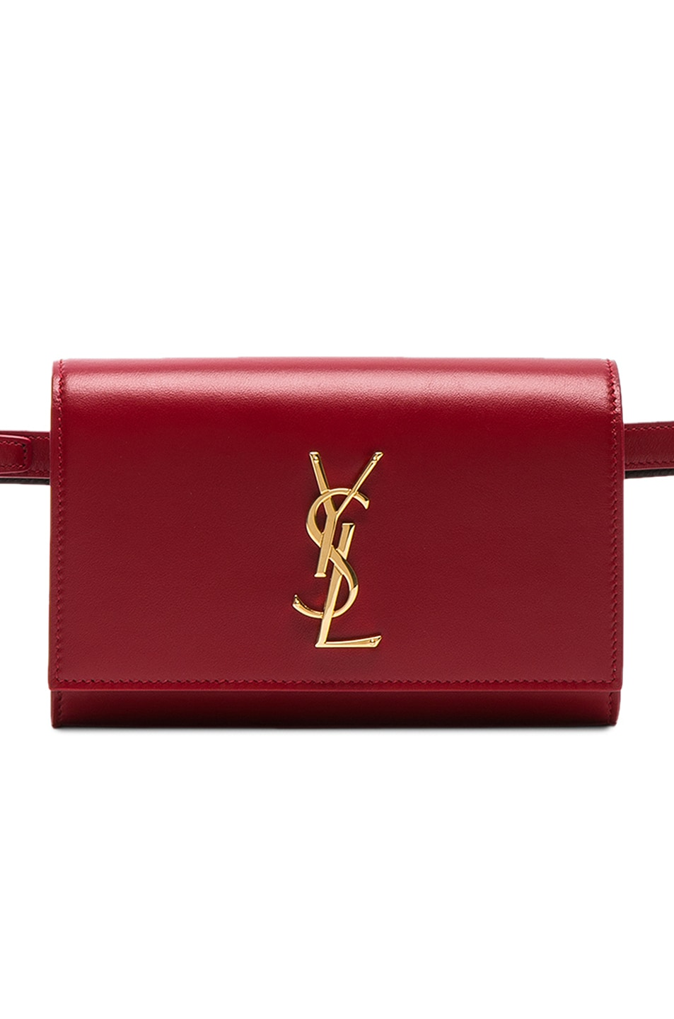 Image 1 of Saint Laurent Monogramme Kate Hip Belt with Pouch in Eros Red