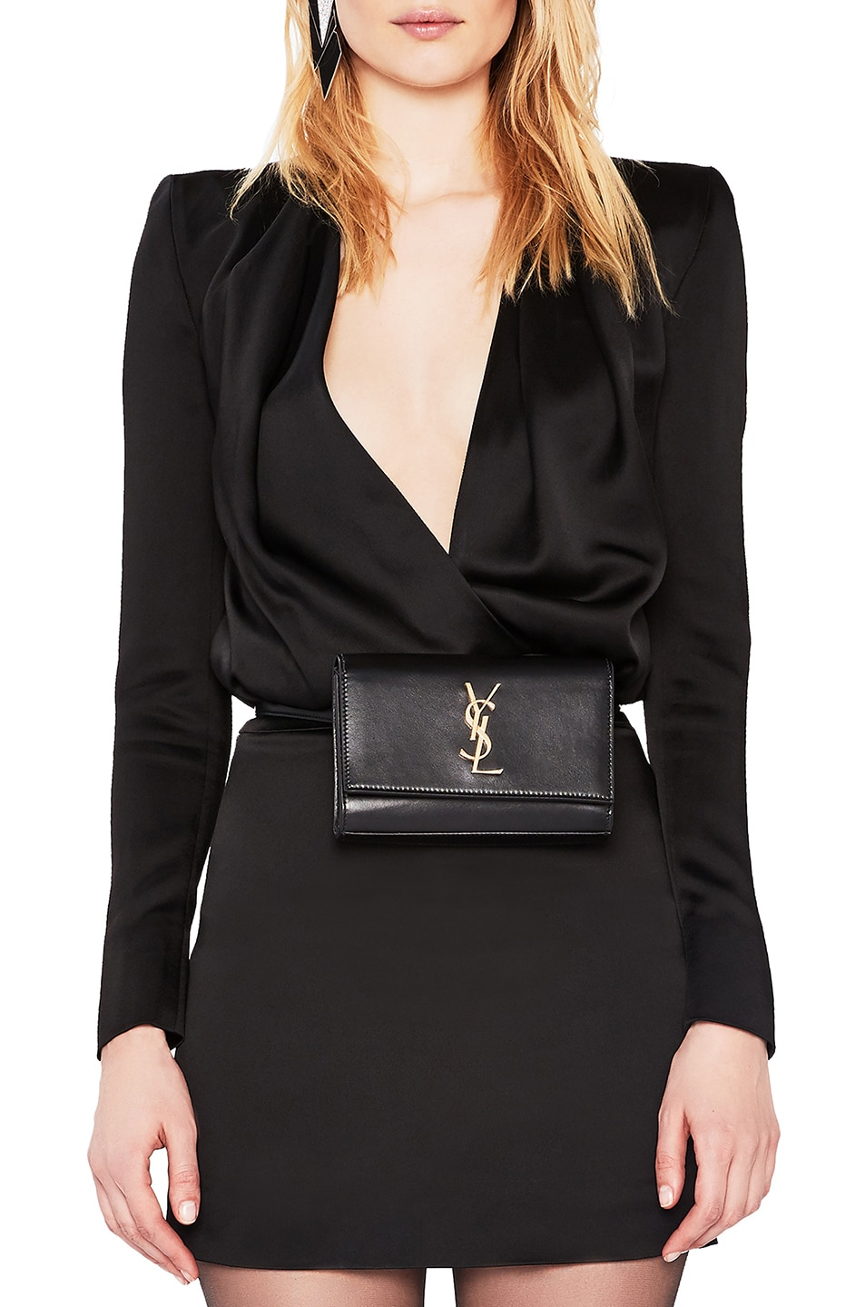 Image 2 of Saint Laurent Monogramme Kate Hip Belt with Pouch in Black