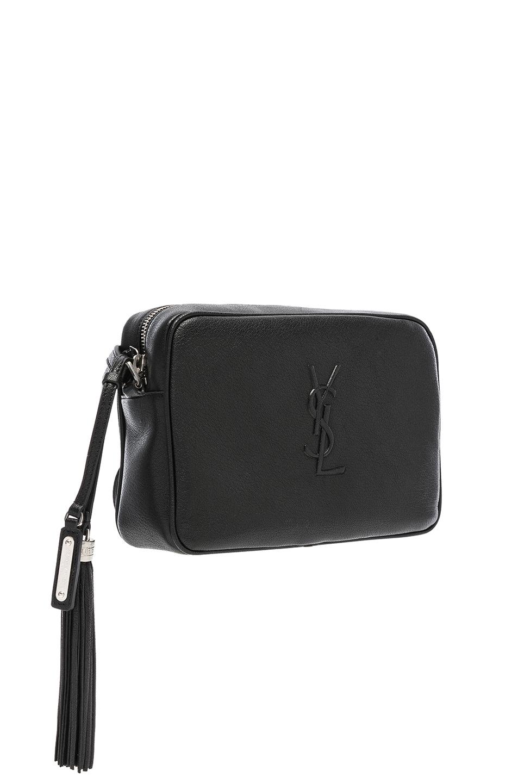 Image 4 of Saint Laurent Medium Logo Embossed Lou Satchel in Black