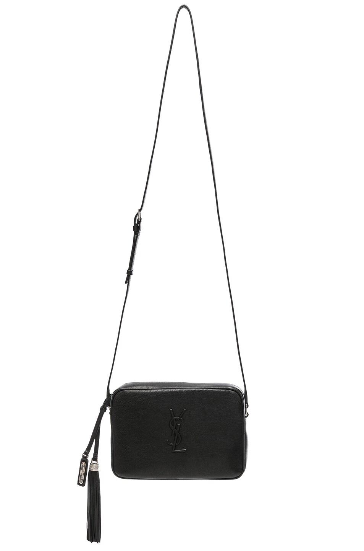 Image 6 of Saint Laurent Medium Logo Embossed Lou Satchel in Black