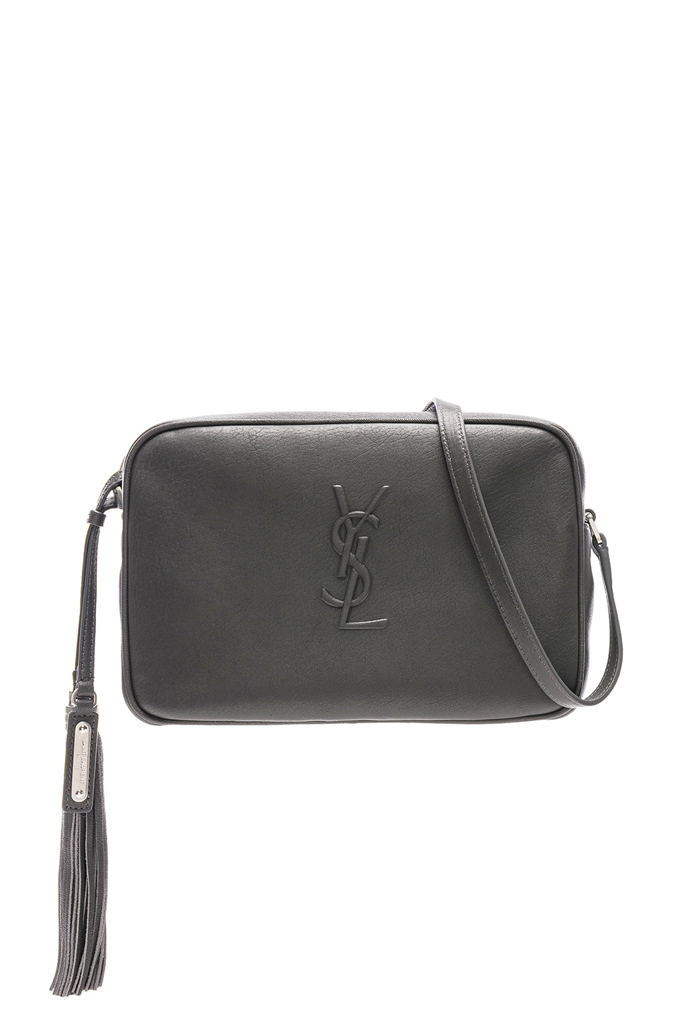 Image 1 of Saint Laurent Medium Logo Embossed Lou Satchel in Storm