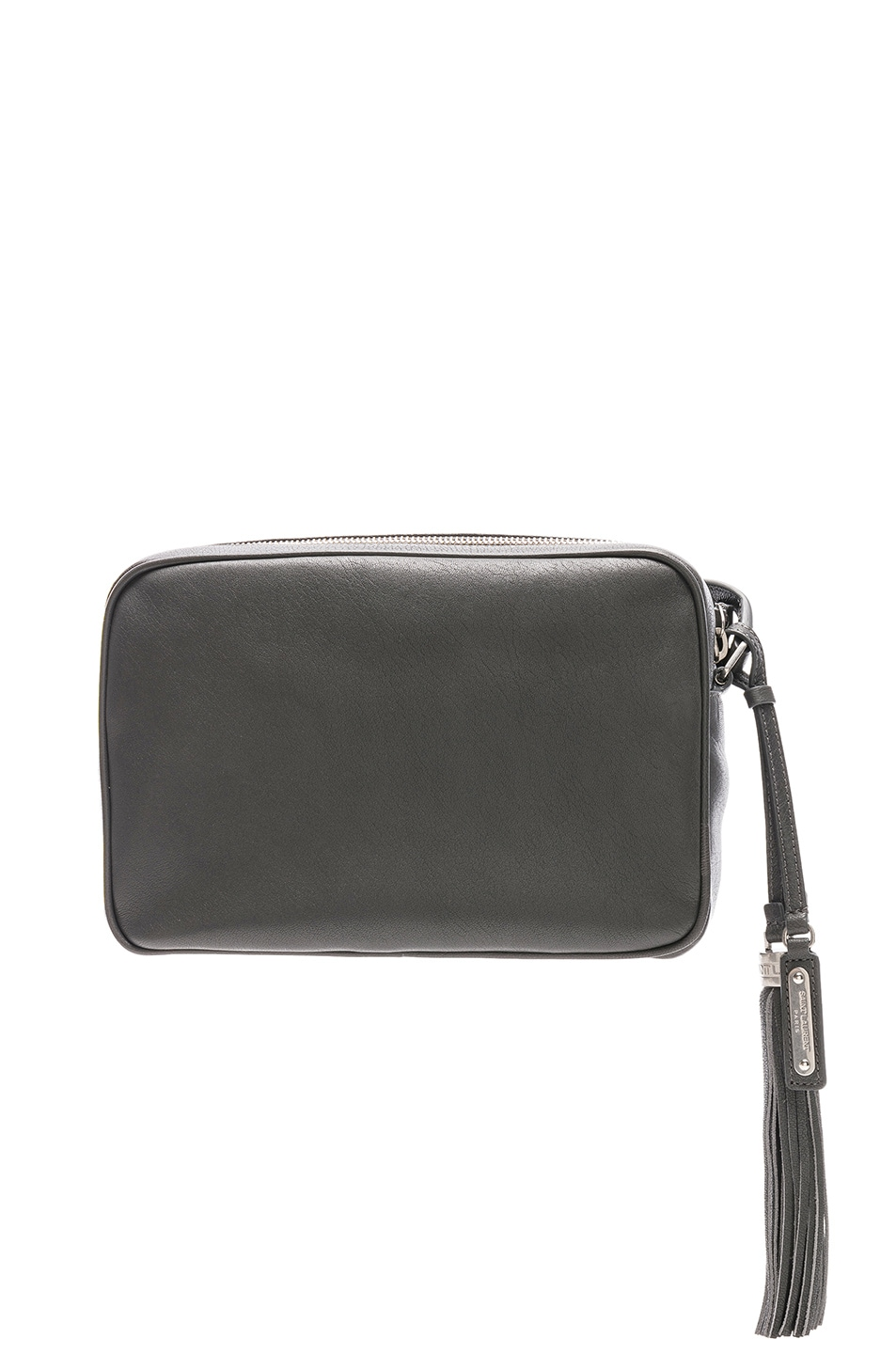 Image 3 of Saint Laurent Medium Logo Embossed Lou Satchel in Storm