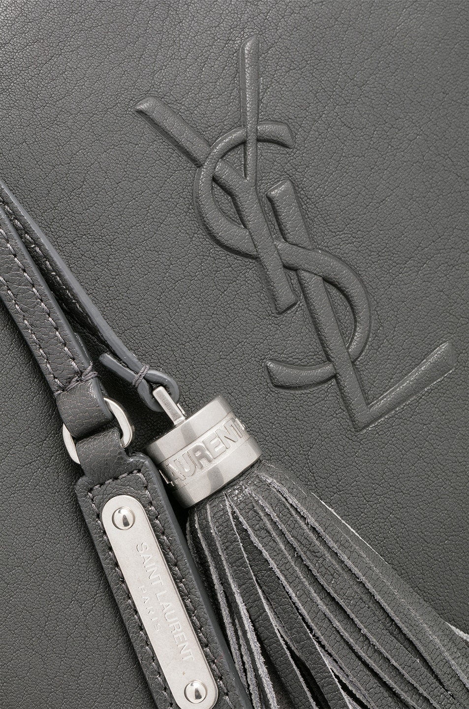 Image 8 of Saint Laurent Medium Logo Embossed Lou Satchel in Storm