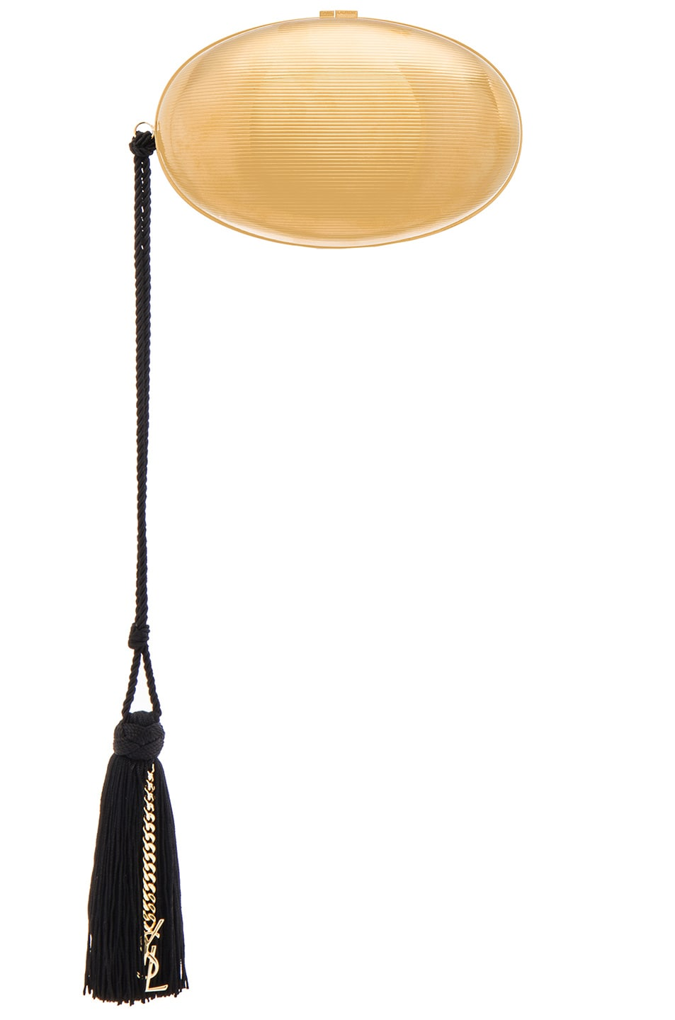 Image 1 of Saint Laurent Metal Shell Minaudiere in Gold & Black