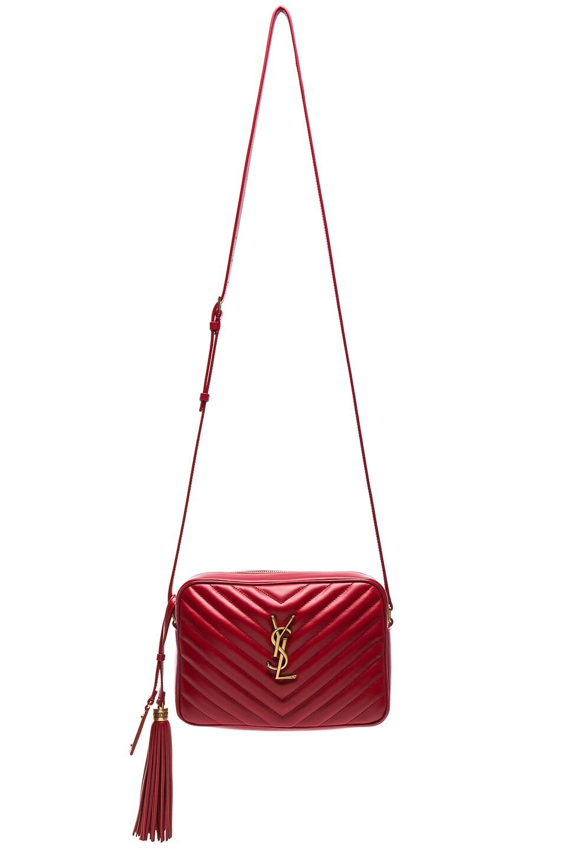 Image 1 of Saint Laurent Medium Monogramme Lou Satchel in Eros Red