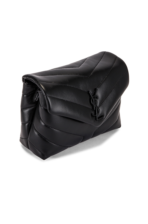 Image 4 of Saint Laurent Toy Supple Monogramme Loulou Strap Bag in Black & Black