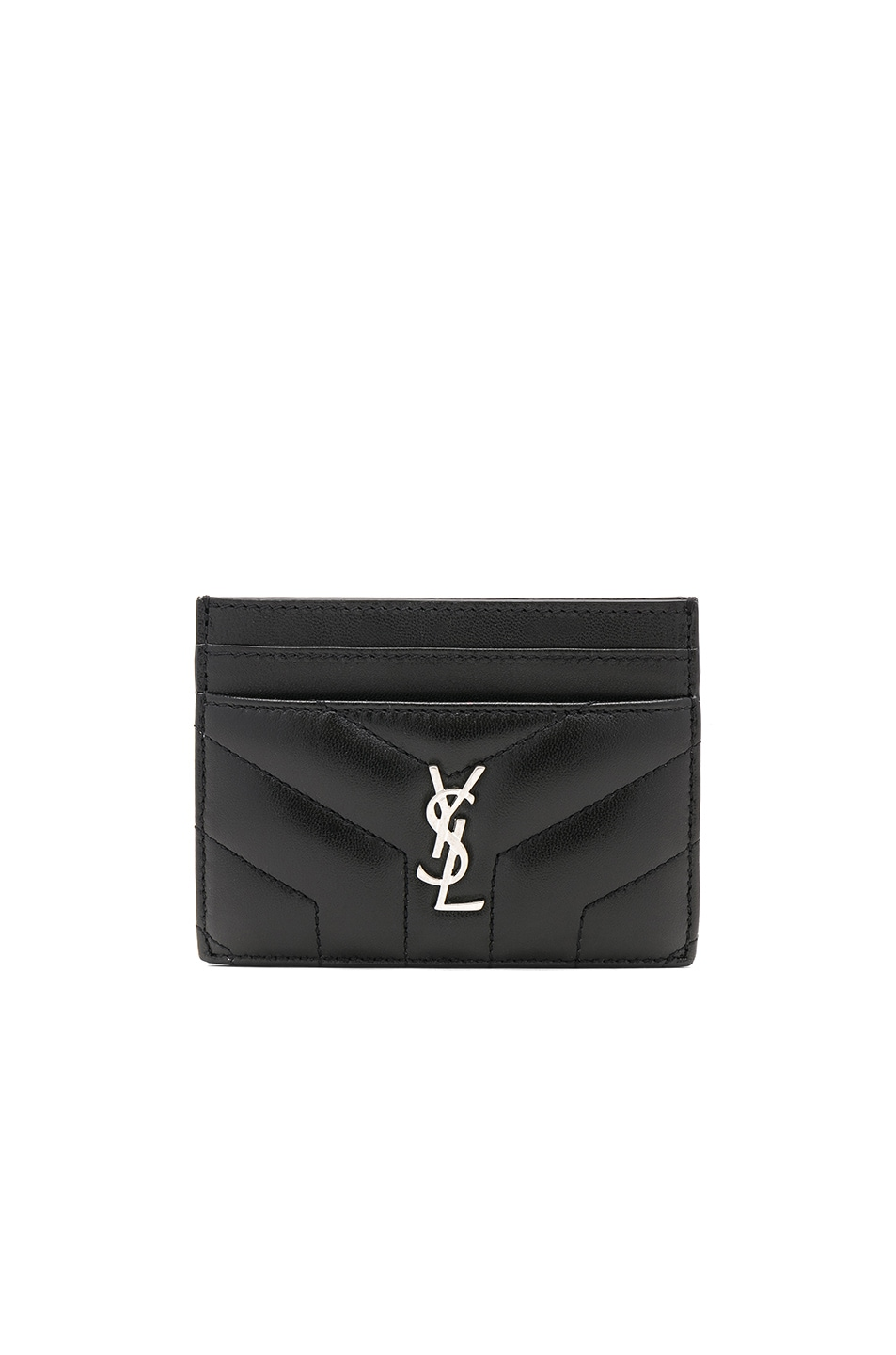 Image 1 of Saint Laurent Monogramme Loulou Credit Card Case in Black