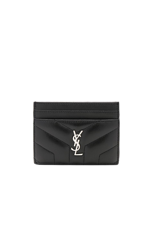 Image 1 of Saint Laurent Monogramme Loulou Credit Card Case in Black