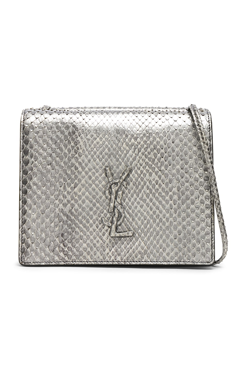 ef477075134 Image 1 of Saint Laurent Python Embossed Vintage YSL Monogramme Bag in  Anthracite & Black