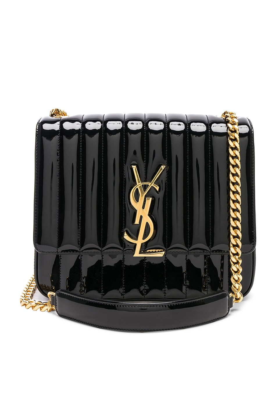 Image 1 of Saint Laurent Large Patent Monogramme Vicky Chain Bag in Black