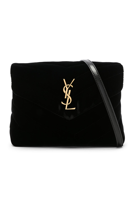 Image 1 of Saint Laurent Toy Velvet Monogramme Loulou Strap Bag in Black