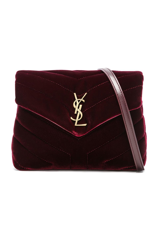 Image 1 of Saint Laurent Toy Velvet Monogramme Loulou Strap Bag in French Burgundy