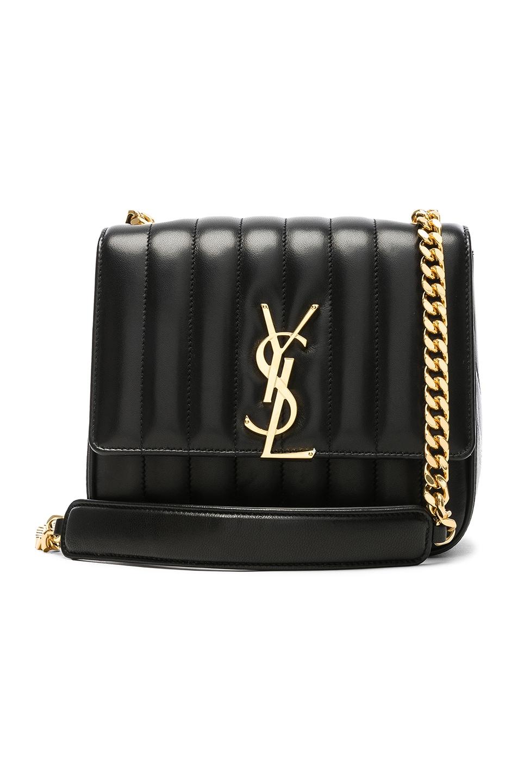 Image 1 of Saint Laurent Medium Supple Monogramme Vicky Chain Bag in Black