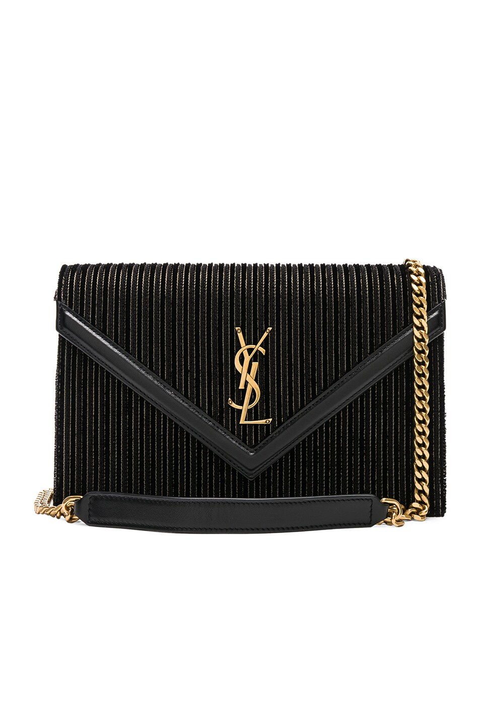 Image 1 of Saint Laurent Velvet & Leather Monogramme Le Sept Chain Bag in Black, Gold & Silver