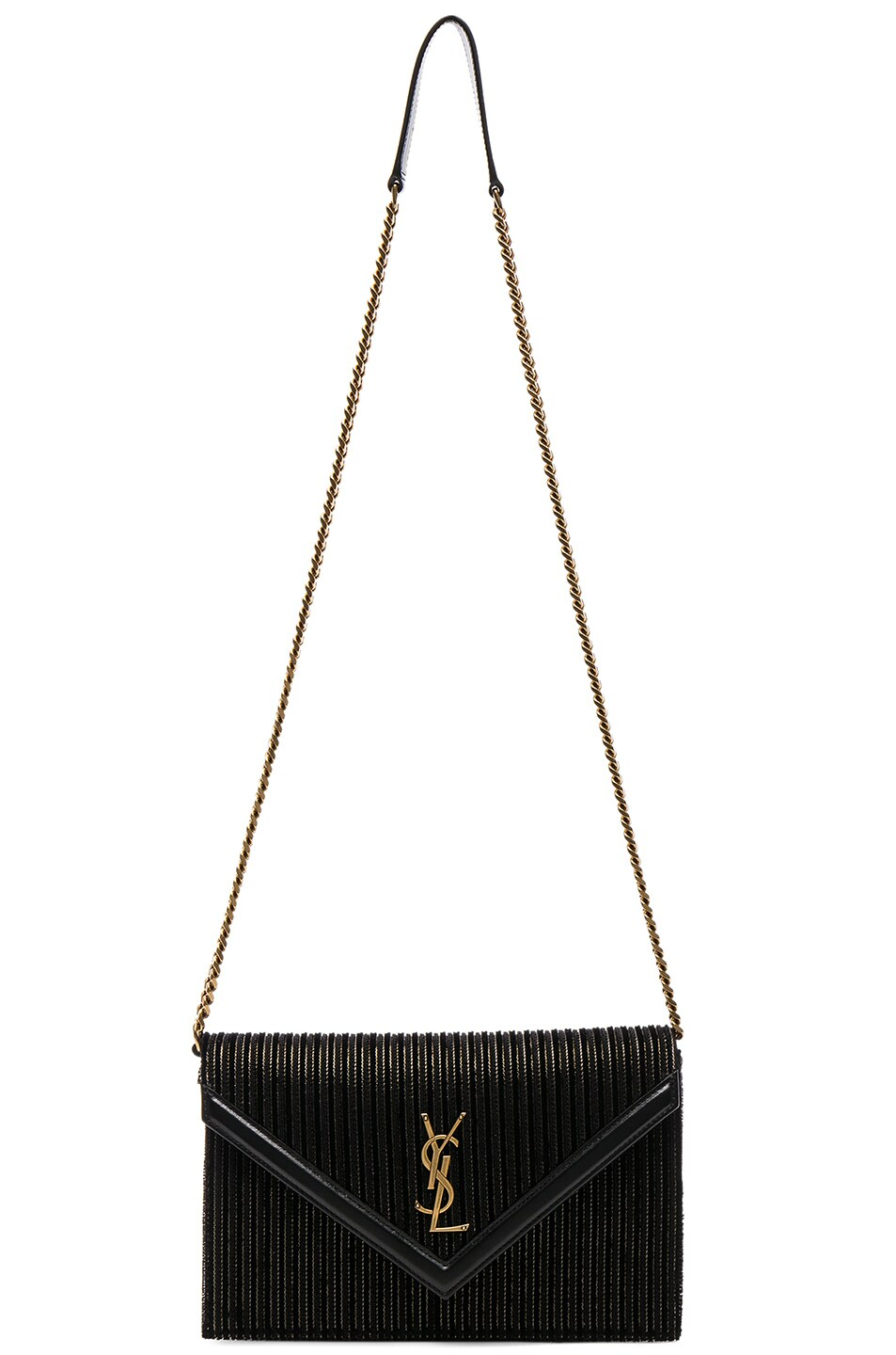 Image 6 of Saint Laurent Velvet & Leather Monogramme Le Sept Chain Bag in Black, Gold & Silver