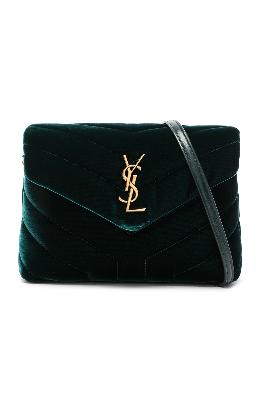 Image 1 of Saint Laurent Toy Velvet Monogramme Loulou Strap Bag in Dark Green
