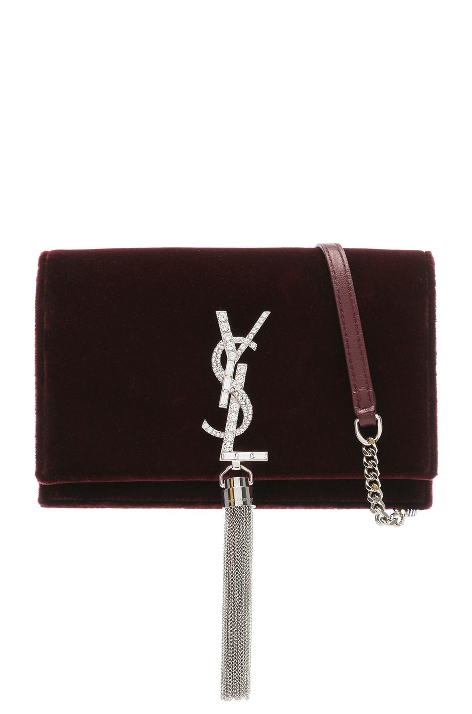 Image 1 of Saint Laurent Crystal Logo Velvet Kate Tassel Chain Wallet in Dark Red
